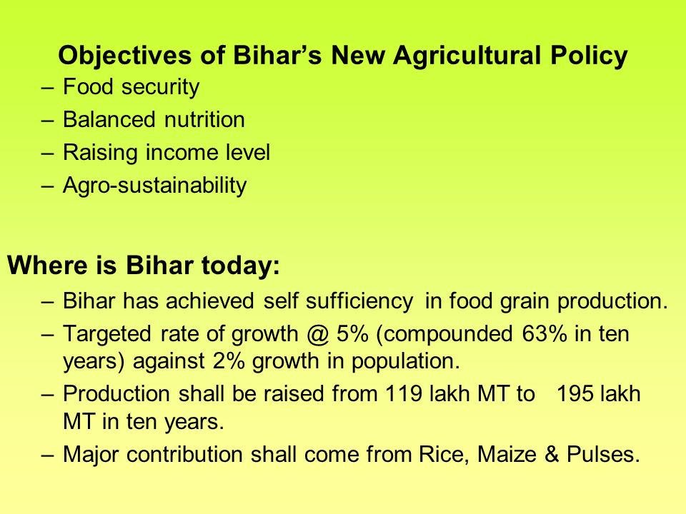 Objectives of Bihar's New Agricultural Policy