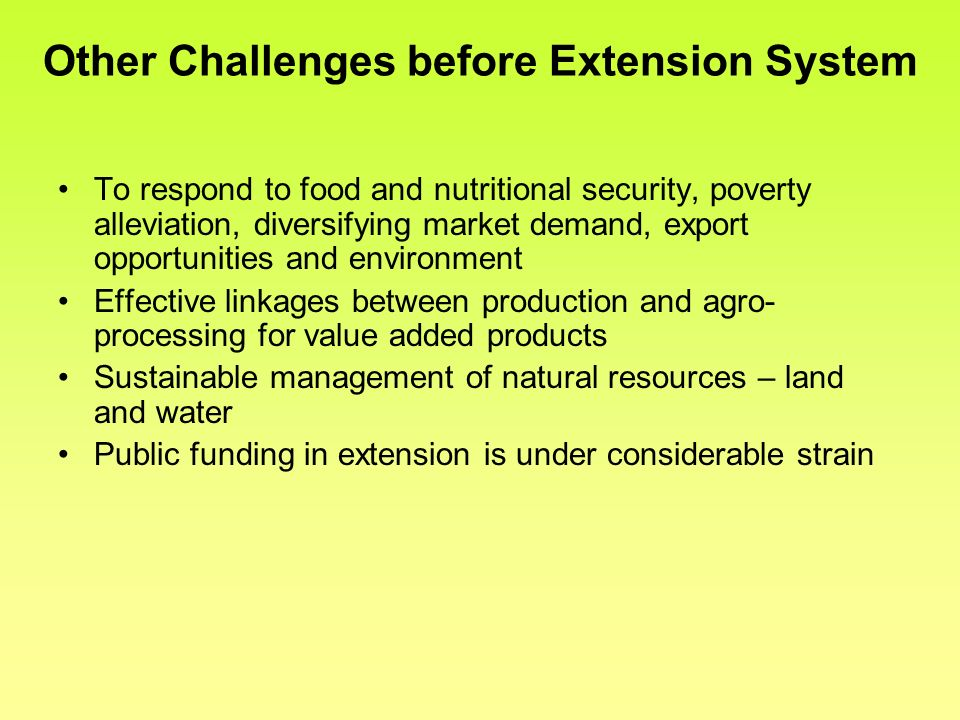 Other Challenges before Extension System