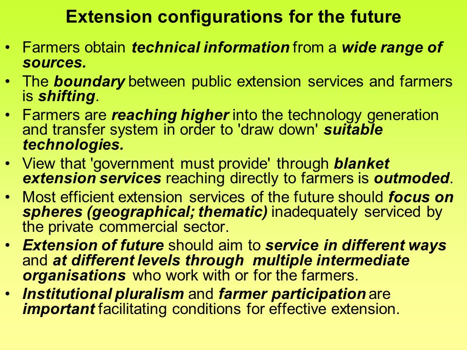 Extension configurations for the future