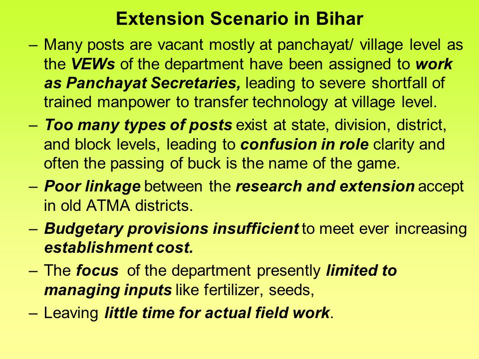 Extension Scenario in Bihar