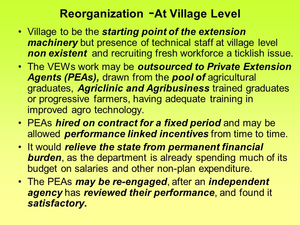 Reorganization -At Village Level