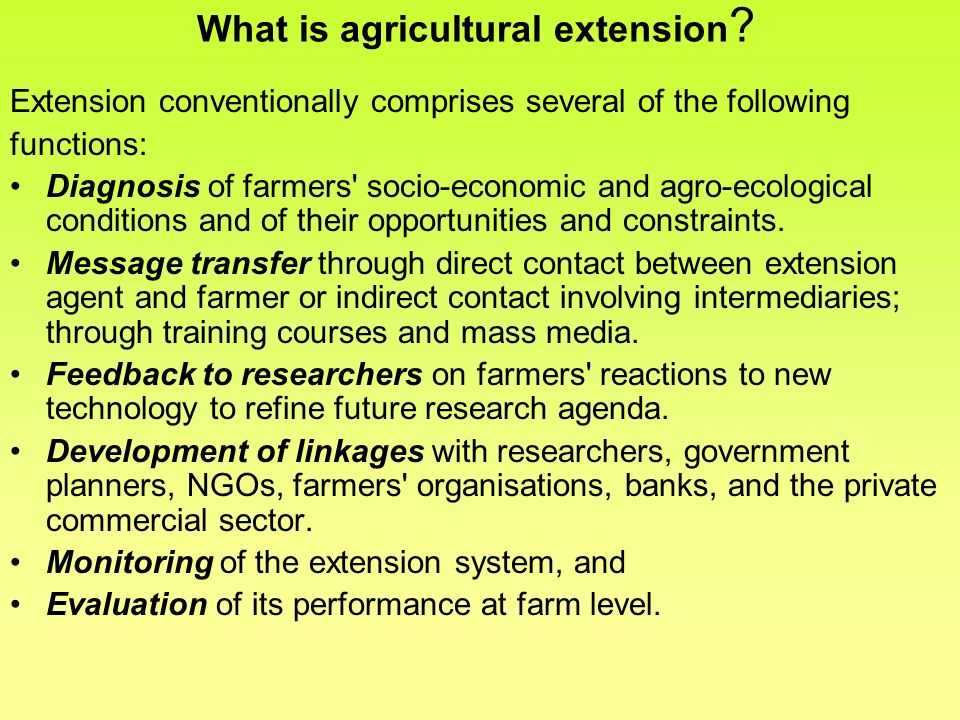 What is agricultural extension