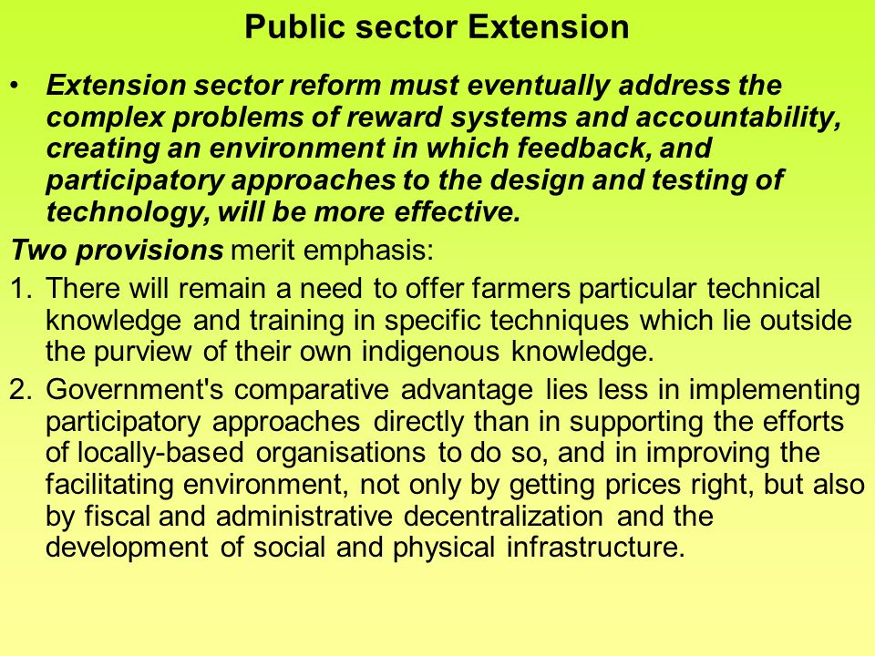 Public sector Extension