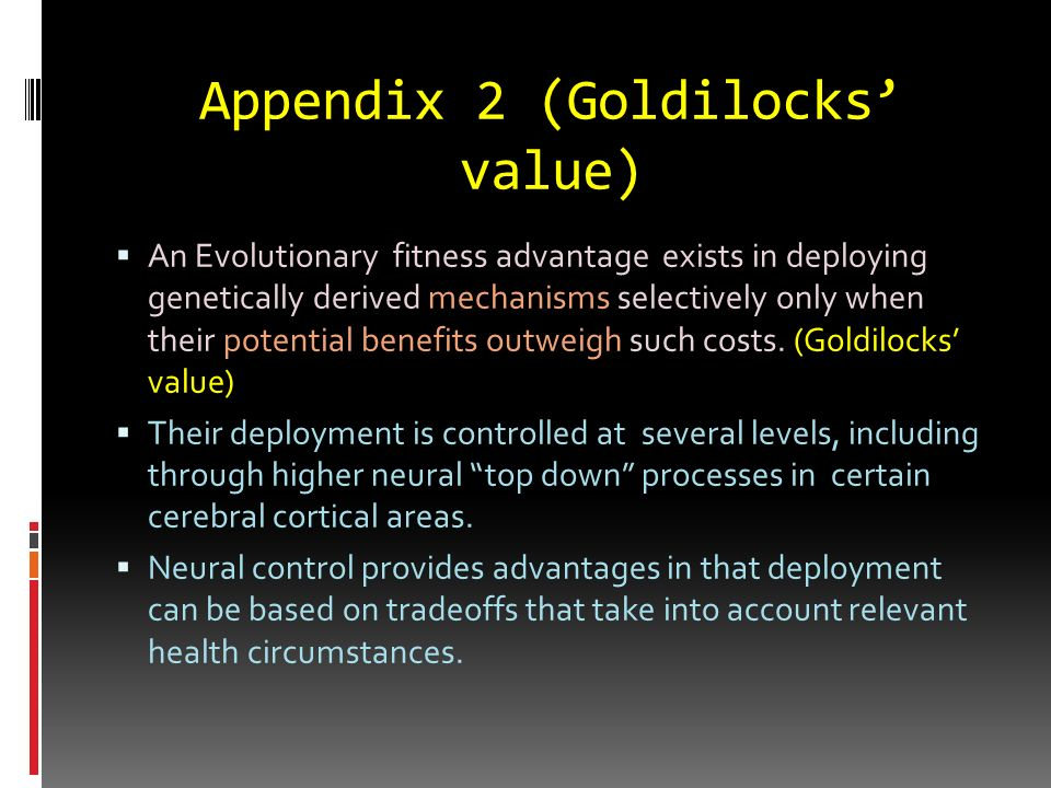 Appendix 2 (Goldilocks' value)