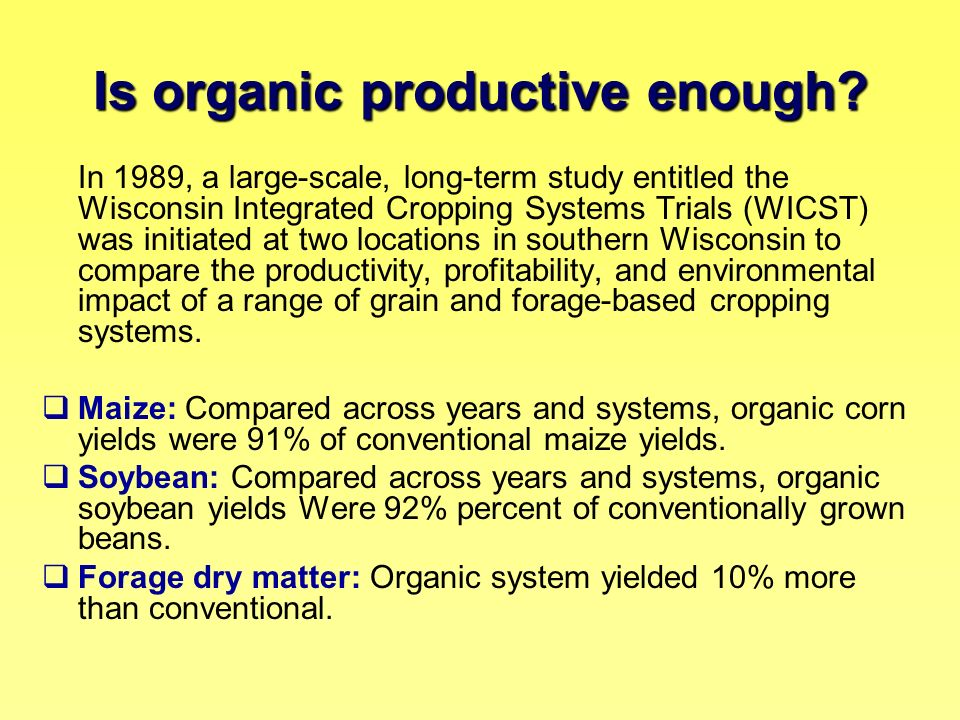 Is organic productive enough