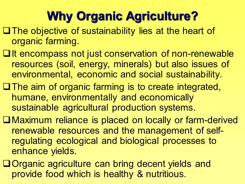 Why Organic Agriculture