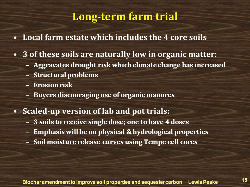 Long-term farm trial Local farm estate which includes the 4 core soils