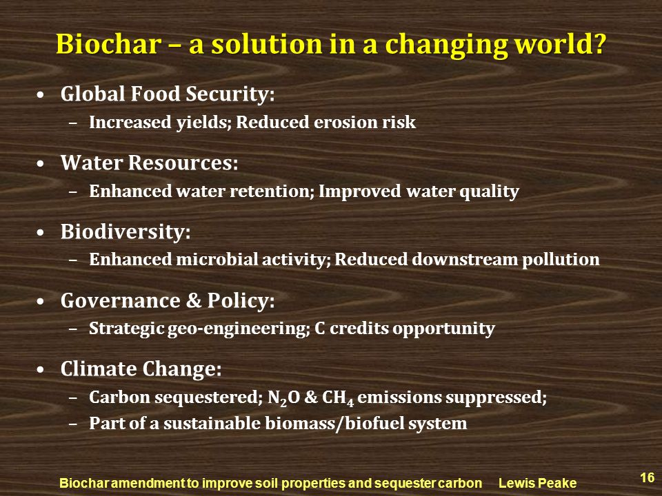 Biochar – a solution in a changing world