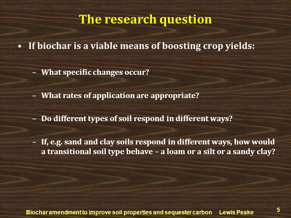 The research question If biochar is a viable means of boosting crop yields: What specific changes occur