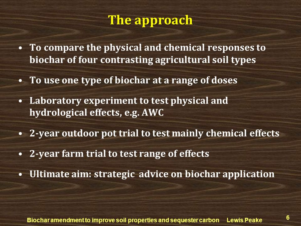 The approach To compare the physical and chemical responses to biochar of four contrasting agricultural soil types.