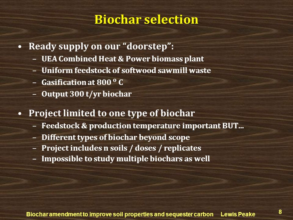 Biochar selection Ready supply on our doorstep :