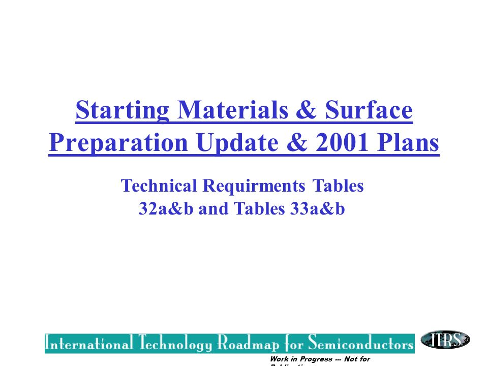Starting Materials & Surface Preparation Update & 2001 Plans