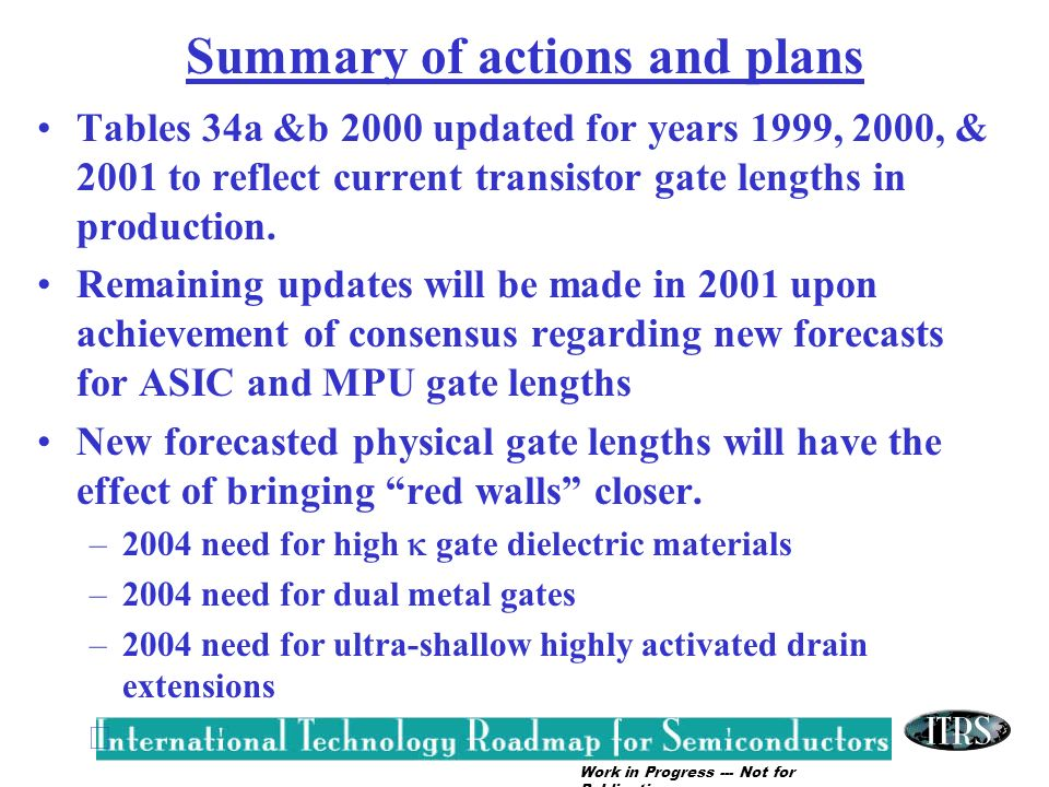 Summary of actions and plans