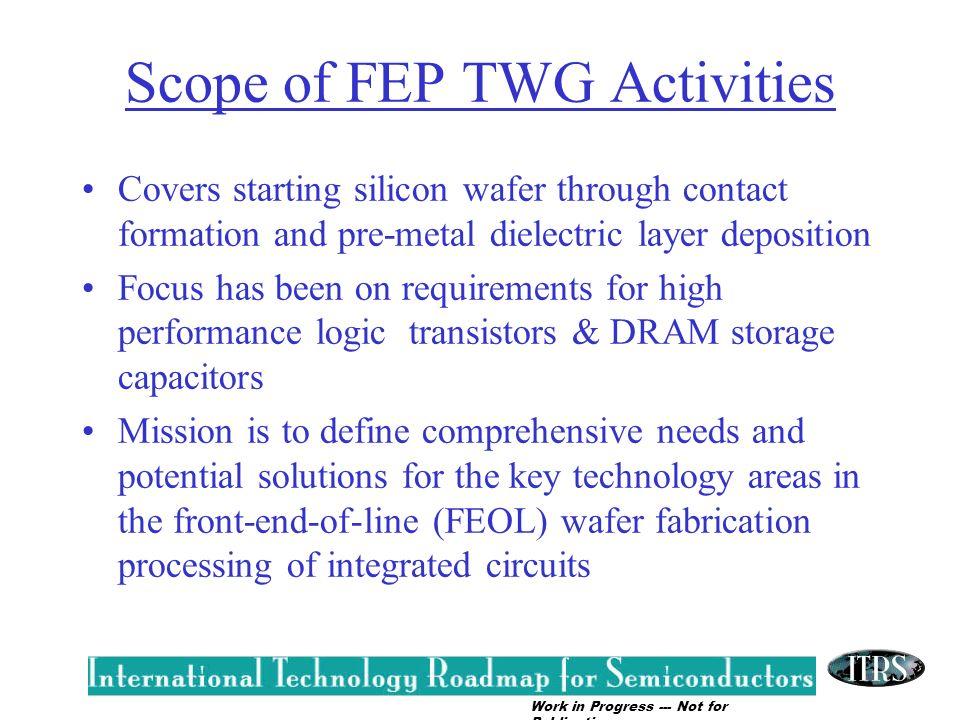Scope of FEP TWG Activities