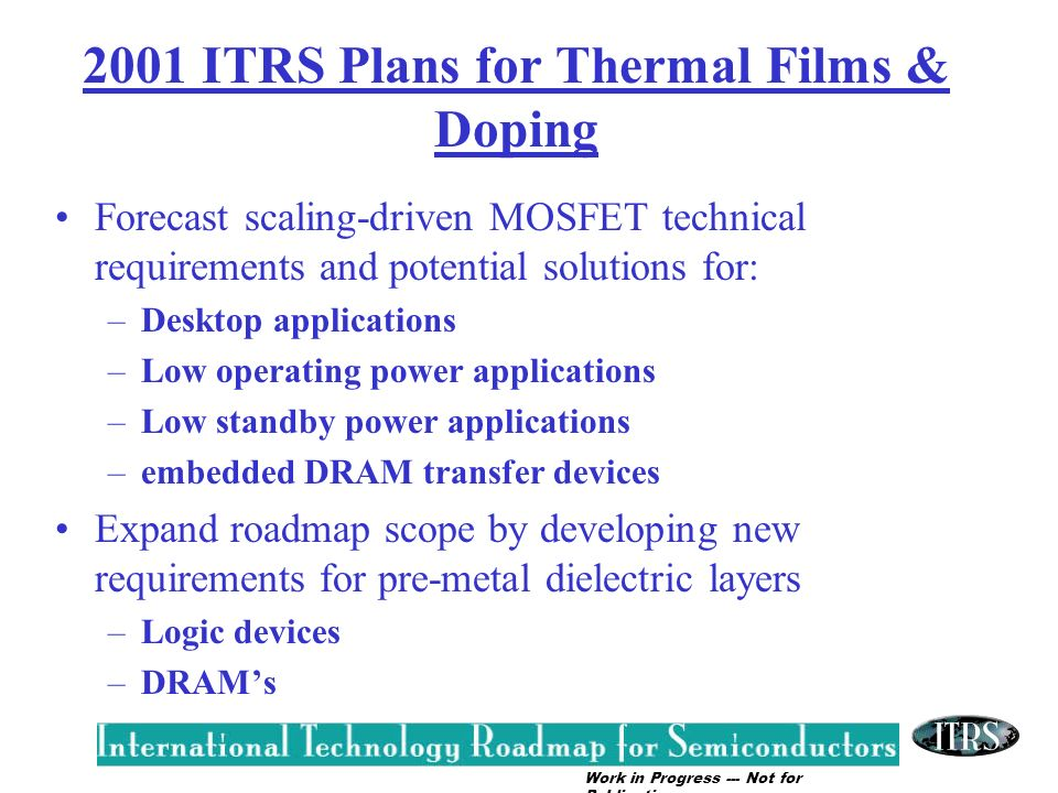 2001 ITRS Plans for Thermal Films & Doping