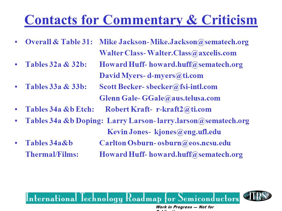Contacts for Commentary & Criticism