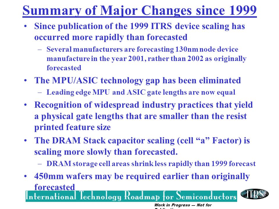 Summary of Major Changes since 1999