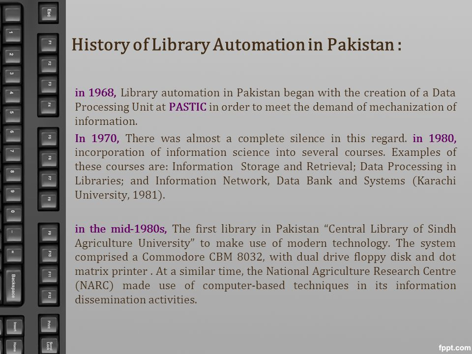 History of Library Automation in Pakistan :
