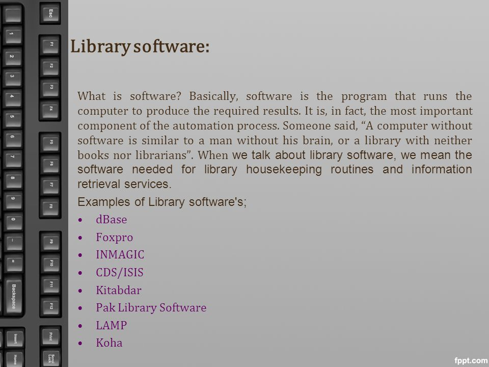 Library software: