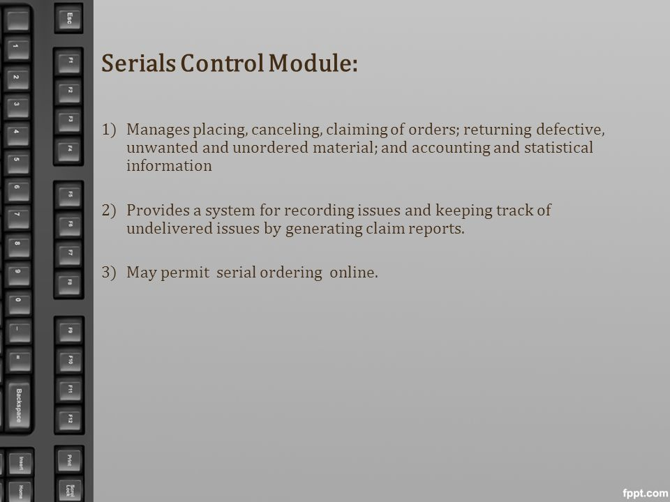 Serials Control Module: