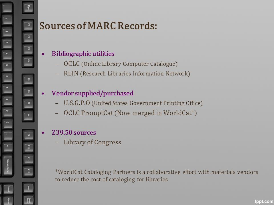 Sources of MARC Records: