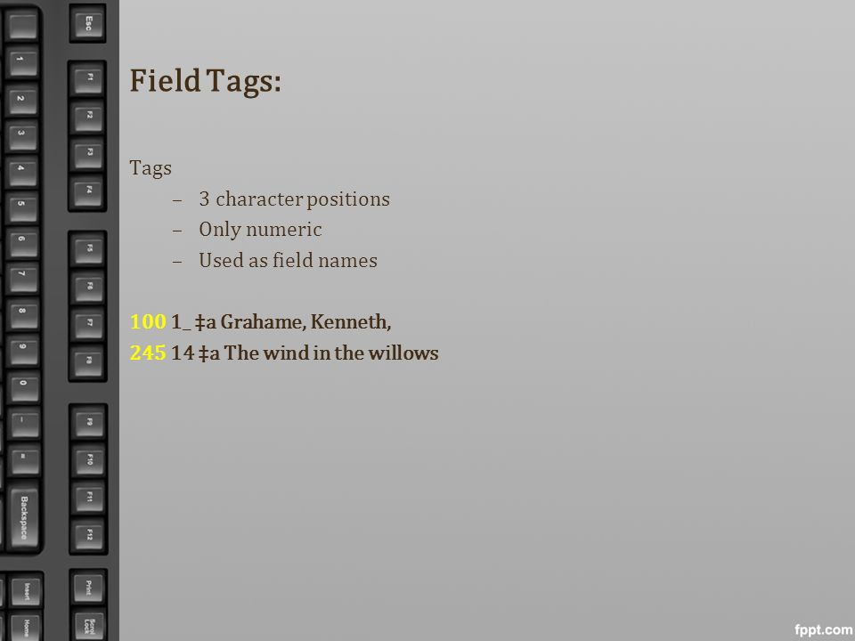 Field Tags: Tags 3 character positions Only numeric