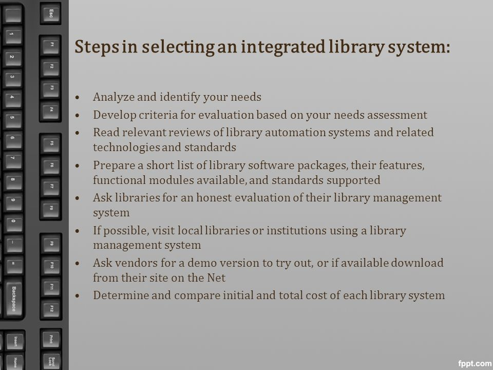 Steps in selecting an integrated library system: