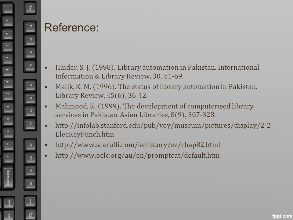 Reference: Haider, S. J. (1998). Library automation in Pakistan. International Information & Library Review, 30, 51-69.