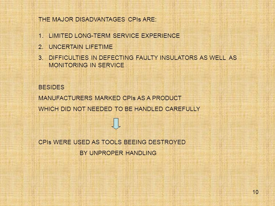 THE MAJOR DISADVANTAGES CPIs ARE: