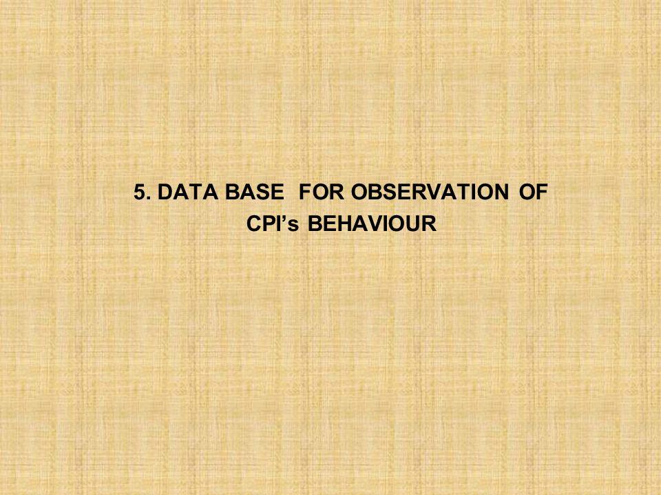 5. DATA BASE FOR OBSERVATION OF