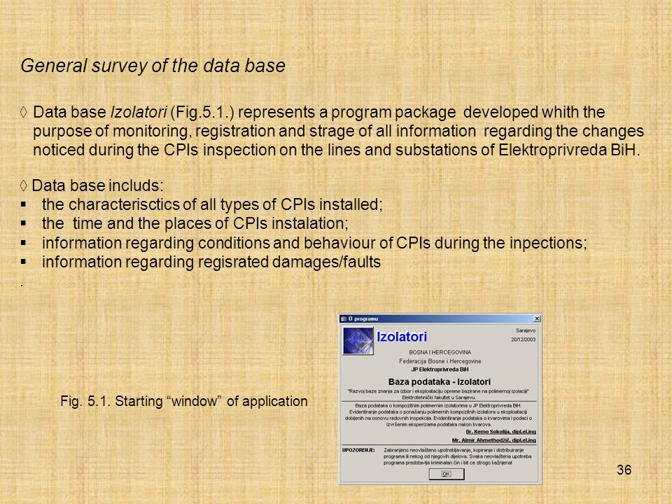 General survey of the data base
