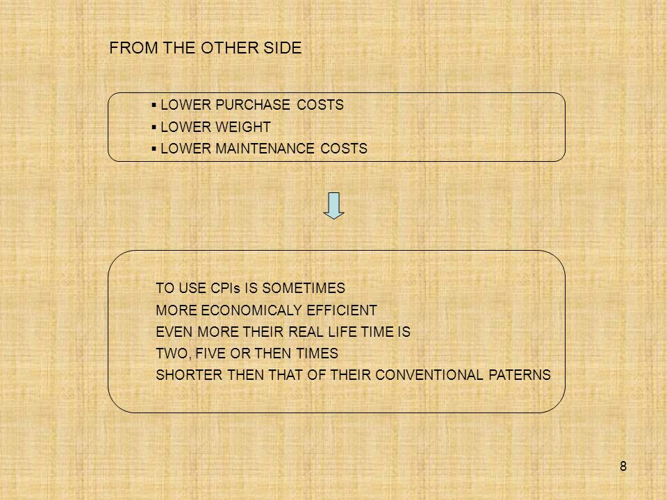 FROM THE OTHER SIDE LOWER PURCHASE COSTS LOWER WEIGHT