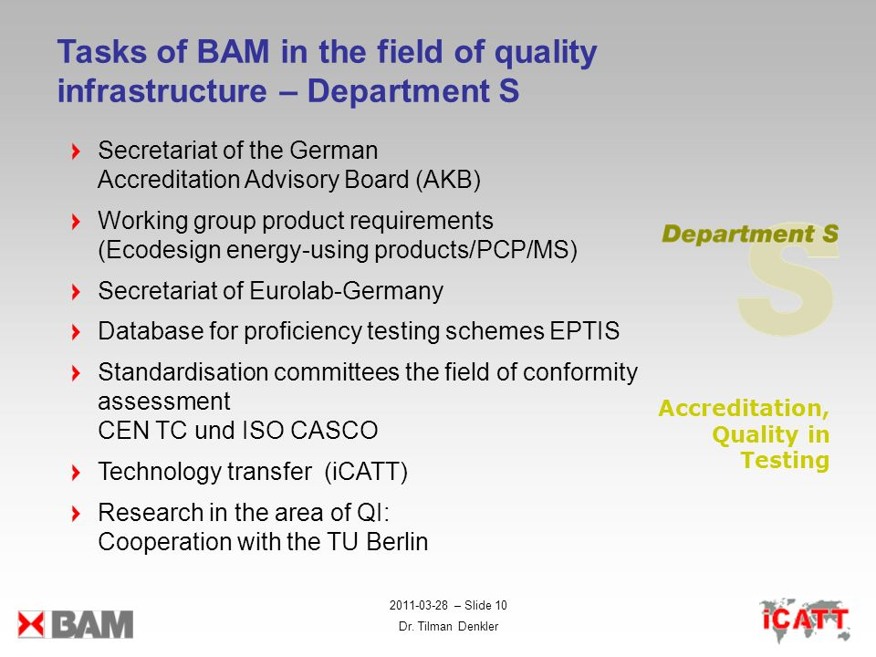Tasks of BAM in the field of quality infrastructure – Department S