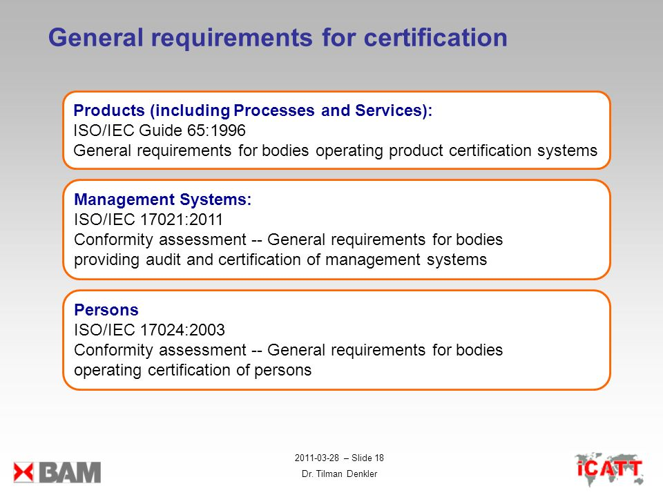 General requirements for certification