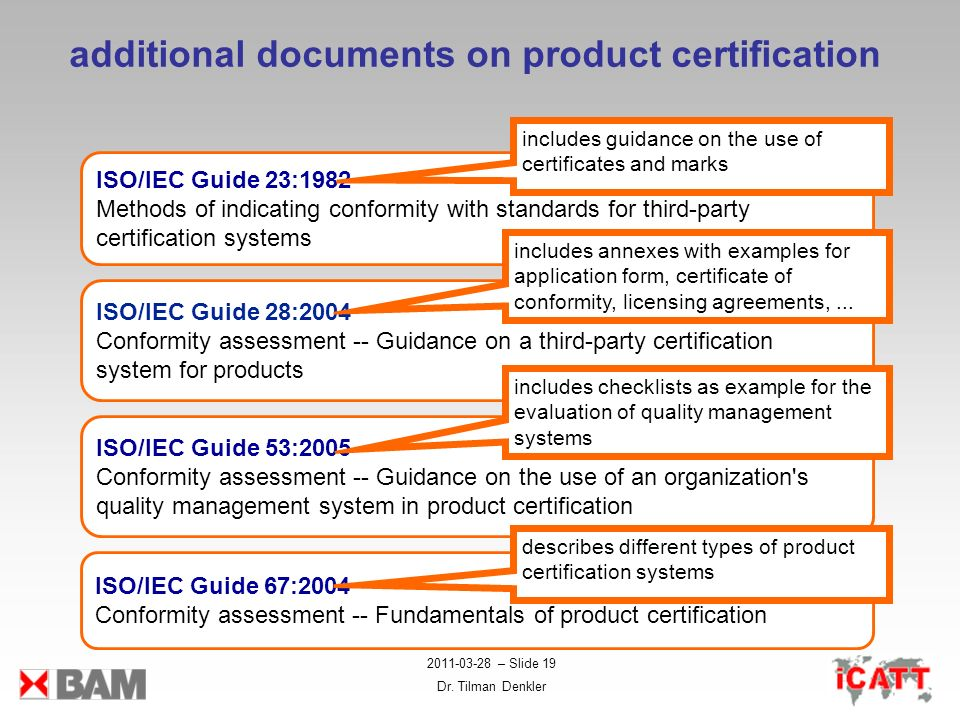 additional documents on product certification