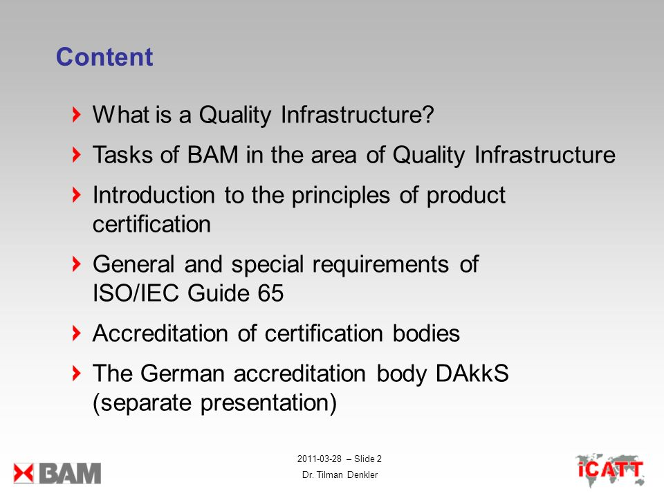 Content What is a Quality Infrastructure