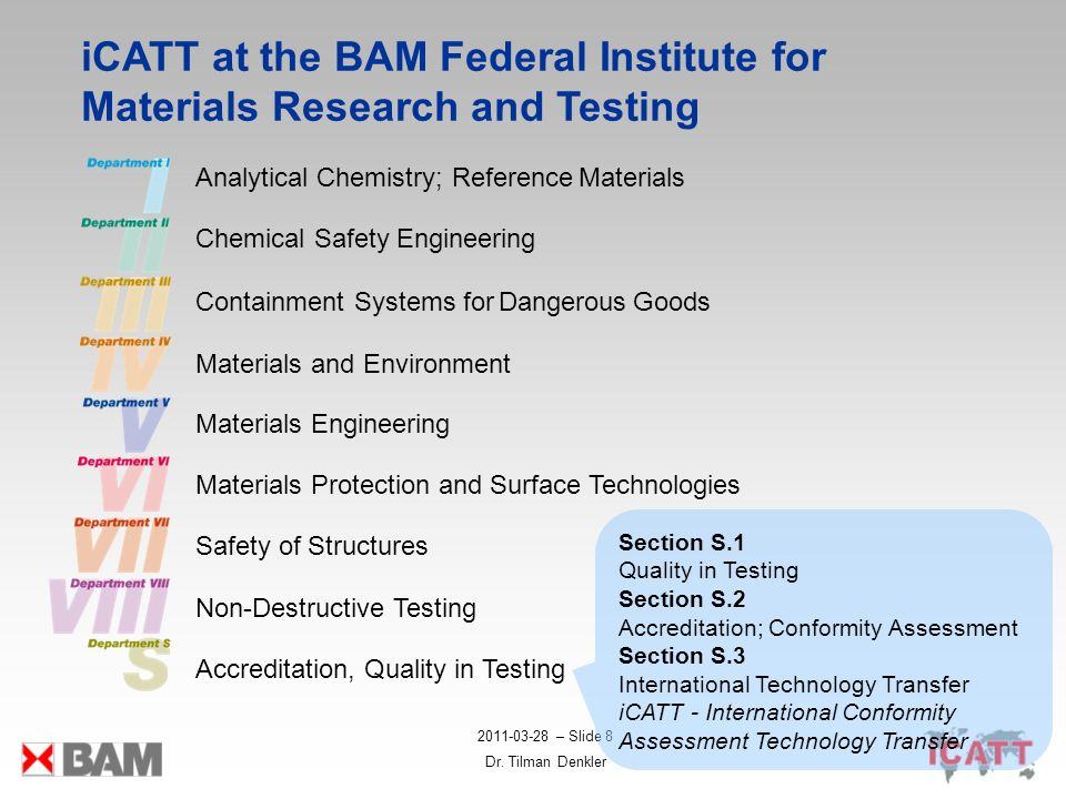 iCATT at the BAM Federal Institute for Materials Research and Testing
