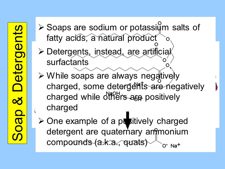 Soaps are sodium or potassium salts of fatty acids, a natural product
