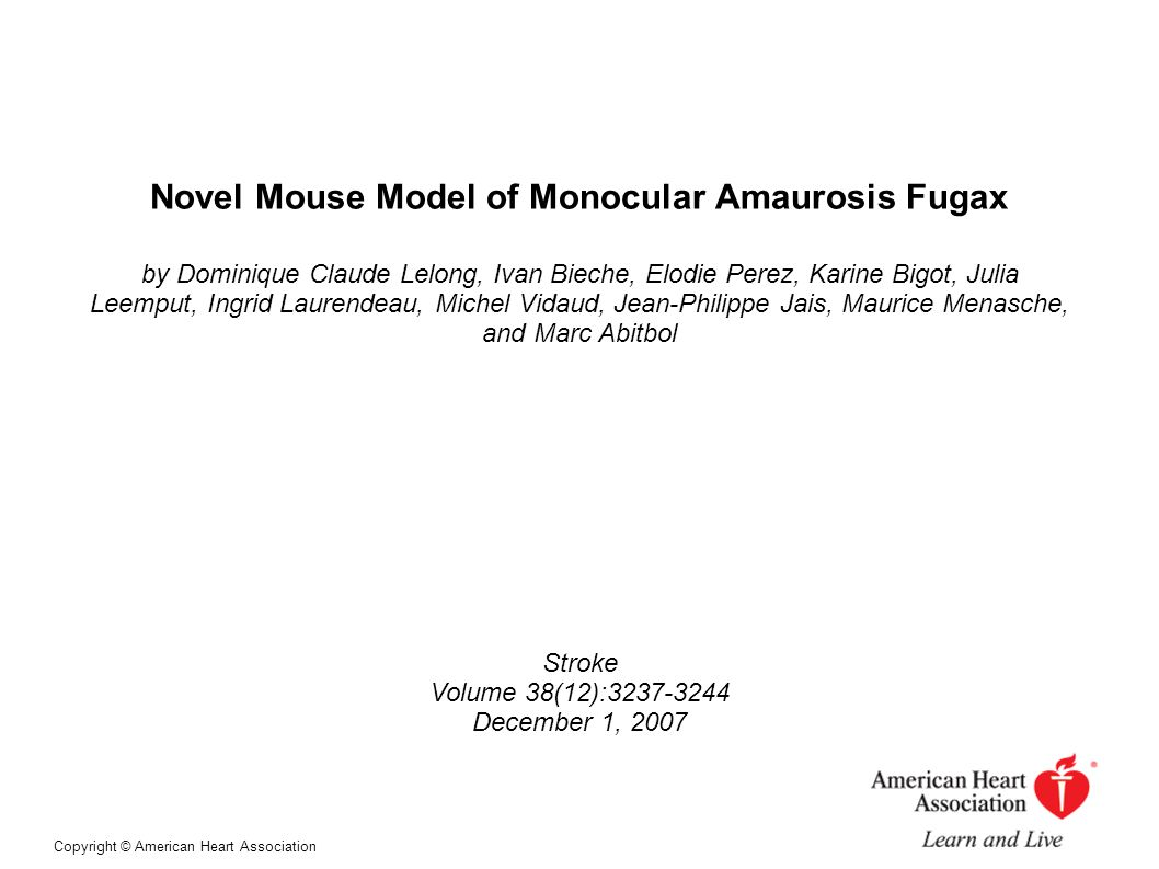 Novel Mouse Model of Monocular Amaurosis Fugax
