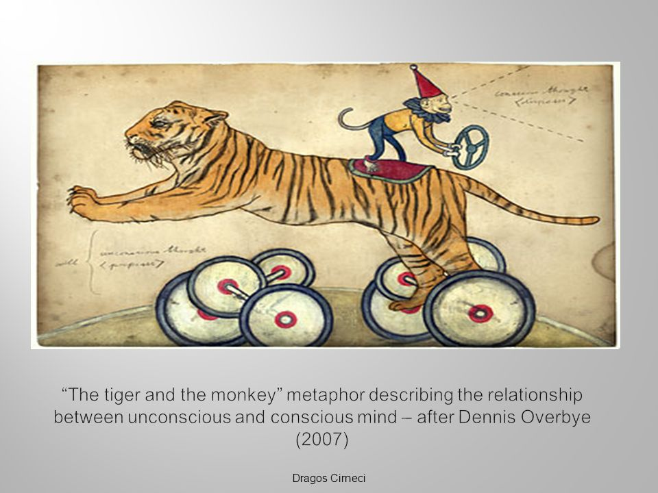 The tiger and the monkey metaphor describing the relationship between unconscious and conscious mind – after Dennis Overbye (2007)