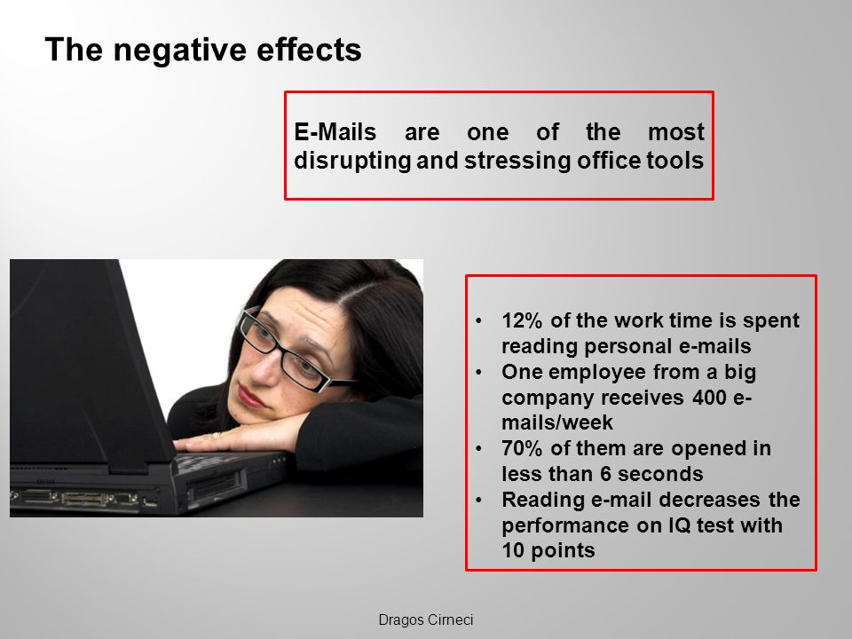 The negative effects E-Mails are one of the most disrupting and stressing office tools. 12% of the work time is spent reading personal e-mails.