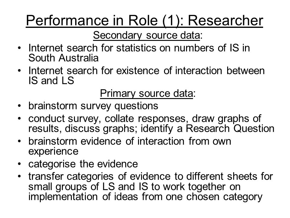 Performance in Role (1): Researcher