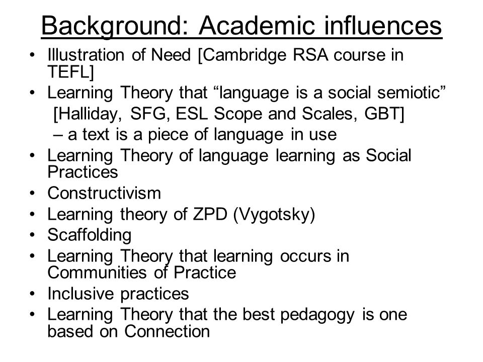 Background: Academic influences