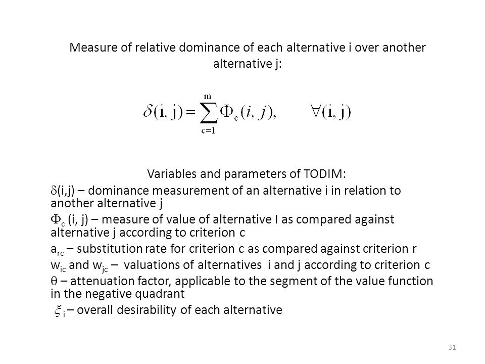 Variables and parameters of TODIM: