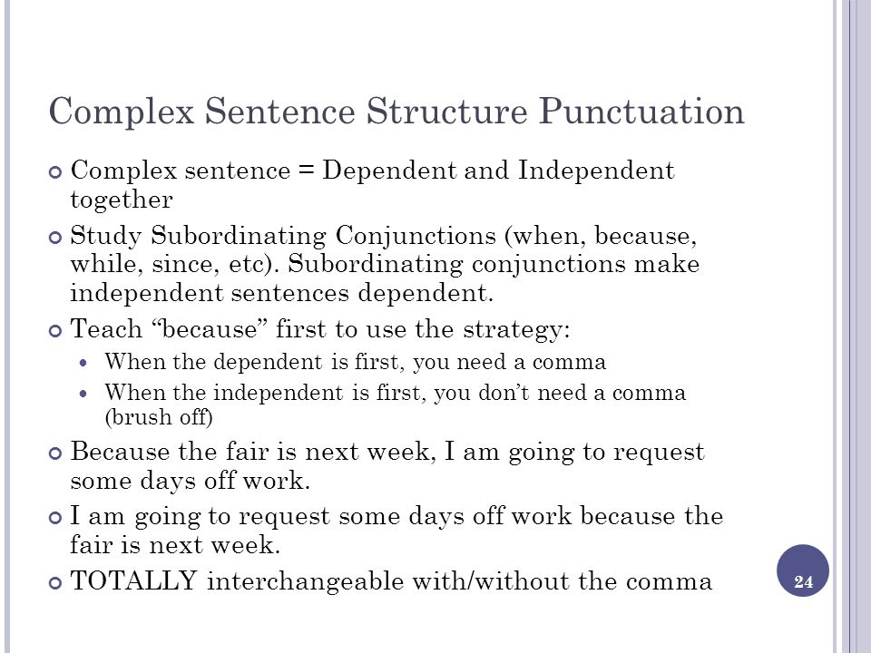 Complex Sentence Structure Punctuation