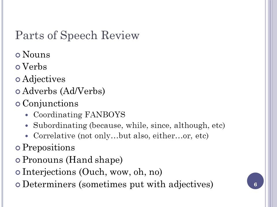Parts of Speech Review Nouns Verbs Adjectives Adverbs (Ad/Verbs)