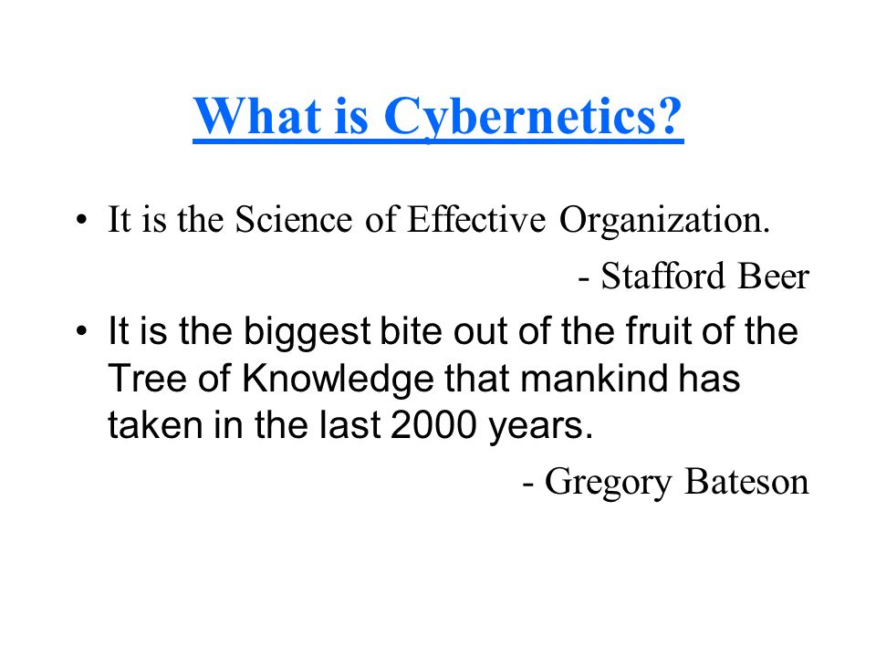 What is Cybernetics It is the Science of Effective Organization.