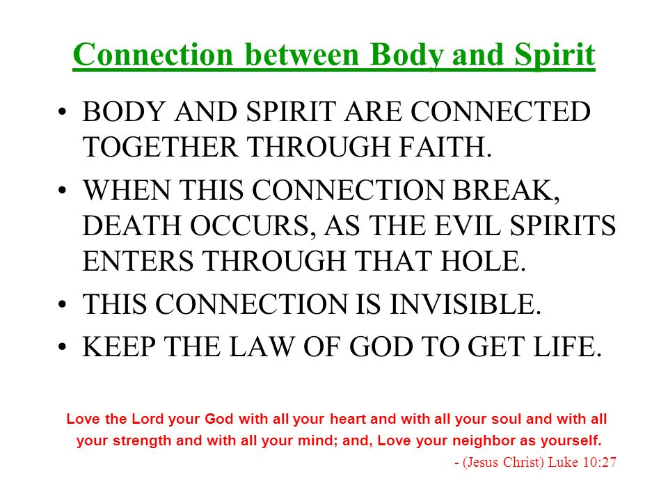 Connection between Body and Spirit