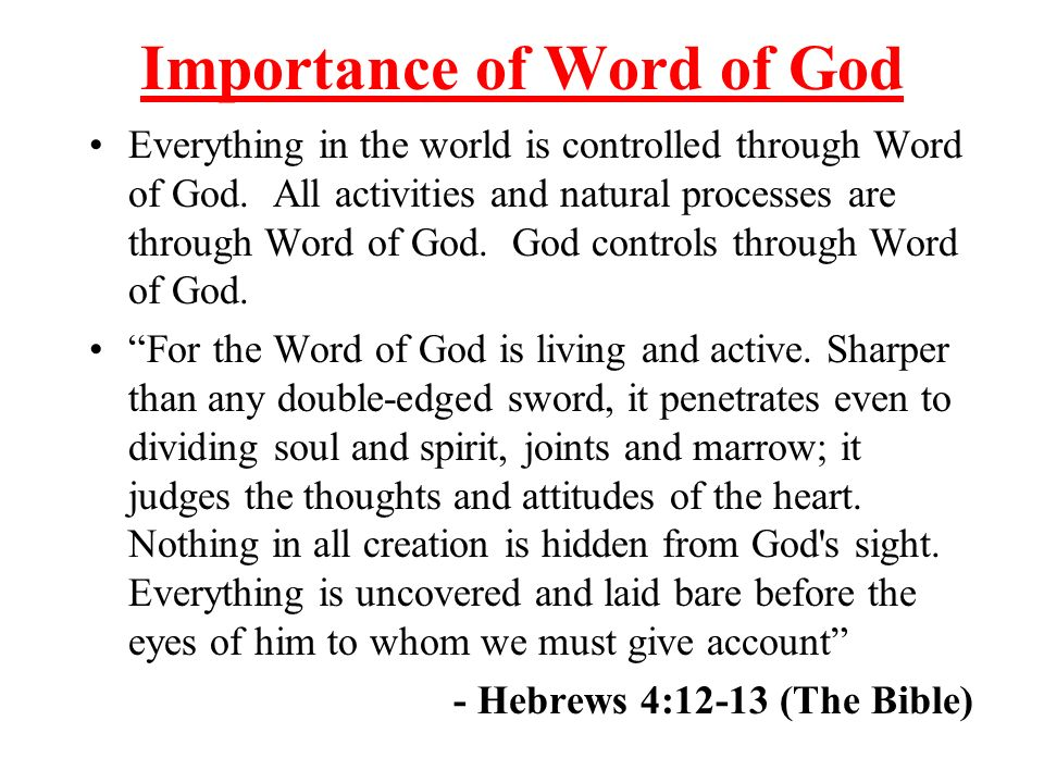 Importance of Word of God