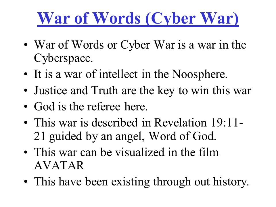 War of Words (Cyber War)